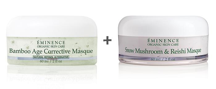 Face Masks 101: Eminence Organics Bamboo Age Corrective Masque and Snow Mushroom & Reishi Masque