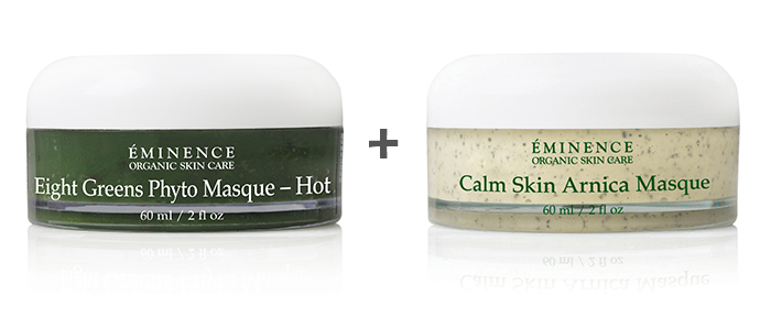 Face Masks 101: Eminence Organics Eight Greens Phyto Masque (Hot) and Calm Skin Arnica Masque
